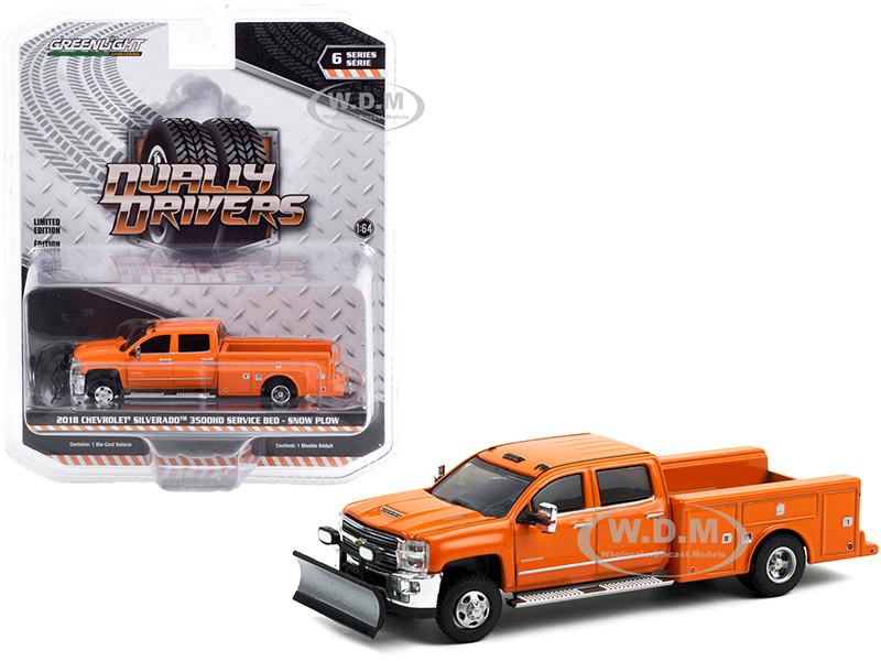 2018 Chevrolet Silverado 3500HD Dually Service Bed Truck Snow Plow Tangier Orange Dually Drivers Series 6 1/64 Diecast Model Car Greenlight 46060 B