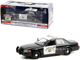 2008 Ford Crown Victoria Police Interceptor Black White CHP California Highway Patrol Hot Pursuit Series 1/24 Diecast Model Car Greenlight 85523