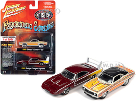 1969 Chevrolet Camaro SS Custom Graphics 1969 Dodge Charger Daytona Dark Red Psychedelic Seventies MCACN Muscle Car & Corvette Nationals Set of 2 Cars Limited Edition 2004 pieces Worldwide 1/64 Diecast Model Cars Johnny Lightning JLPK012 JLSP128