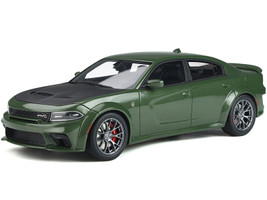 Dodge Charger SRT Hellcat Widebody Green Metallic Matt Black Hood 1/18 Model Car GT Spirit GT303