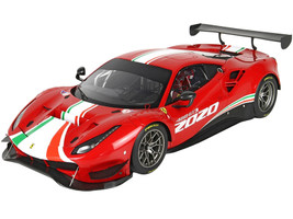 2020 Ferrari 488 GT3 Rosso Corsa 322 Red Green Red Stripes DISPLAY CASE Limited Edition 128 pieces Worldwide 1/18 Model Car BBR P18187