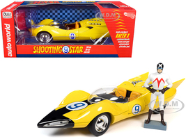 Shooting Star #9 Yellow Racer X Figurine Speed Racer Anime Series 1/18 Diecast Model Car Autoworld AWSS125