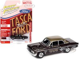 1964 Ford Thunderbolt Bill Lawton Tasca Vintage Burgundy Metallic Gold Top Race Graphics Limited Edition 3508 pieces Worldwide 1/64 Diecast Model Car Johnny Lightning JLMC025 JLSP139 A