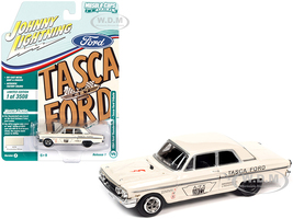 1964 Ford Thunderbolt Tasca Ford Tribute Wimbledon White Race Graphics Limited Edition 3508 pieces Worldwide 1/64 Diecast Model Car Johnny Lightning JLMC025 JLSP139 B