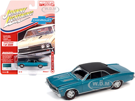 1967 Chevrolet Chevelle SS Emerald Turquoise Metallic Flat Black Top Limited Edition 3508 pieces Worldwide Muscle Cars USA Series 1/64 Diecast Model Car Johnny Lightning JLMC025 JLSP138 A