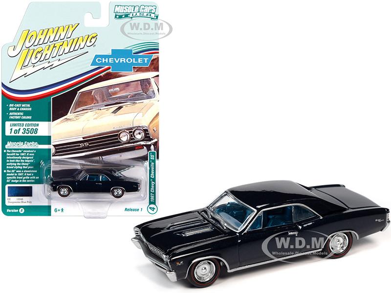 1967 Chevrolet Chevelle SS Deepwater Blue Metallic Blue Interior Limited Edition 3508 pieces Worldwide Muscle Cars USA Series 1/64 Diecast Model Car Johnny Lightning JLMC025 JLSP138 B