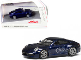 Porsche 911 992 Carrera S Coupe Dark Blue Metallic 1/87 HO Diecast Model Car Schuco 452653700