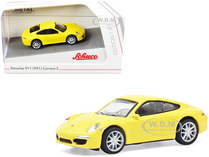 Porsche 911 991 Carrera S Yellow 1/87 HO Diecast Model Car Schuco 452659900