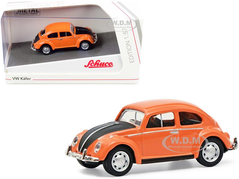 Volkswagen Kafer Orange Black 1/87 HO Diecast Model Car Schuco 452662800