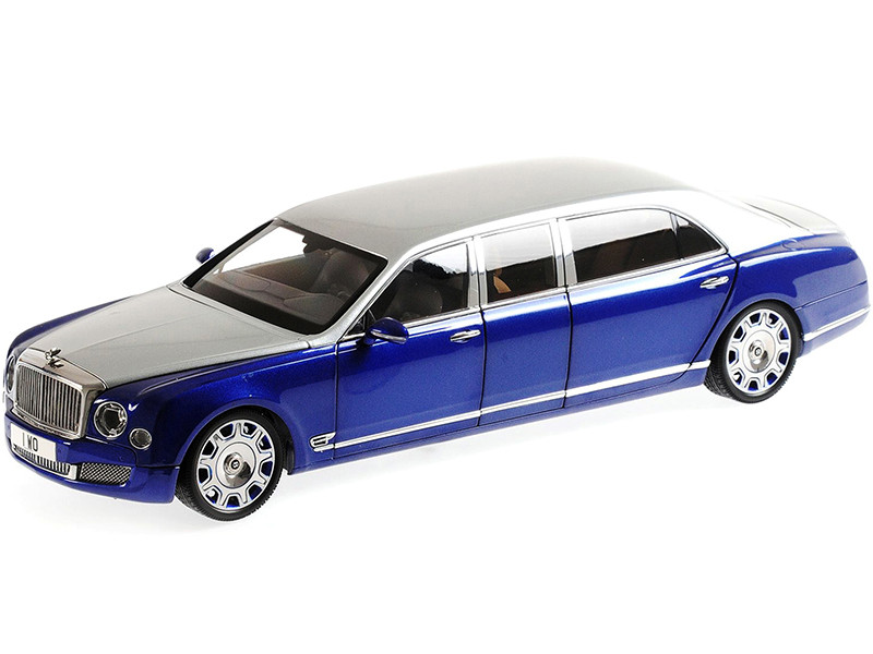 Bentley Mulsanne Grand Limousine Mulliner Silver Frost Moroccan Blue Metallic 1/18 Diecast Model Car Almost Real 830601