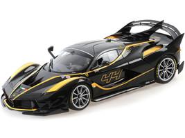 Ferrari FXXK Evo Nero #44 John Taylor Black Yellow Accents 1/18 Diecast Model Car BBR 182282