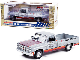 1981 GMC Sierra Classic 1500 Pickup Truck Silver Stripes 65th Annual Indianapolis 500 Mile Race Official Truck 1/18 Diecast Model Car Greenlight 13563