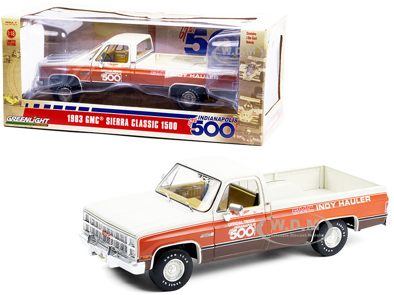 1983 GMC Sierra Classic 1500 Pickup Truck Cream Orange Brown Bottom 67th Annual Indianapolis 500 Mile Race Official Truck 1/18 Diecast Model Car Greenlight 13564