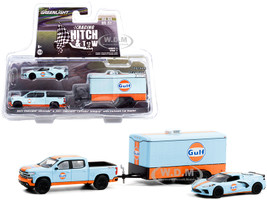 2021 Chevrolet Silverado 4x4 Pickup Truck 2021 Chevrolet Corvette C8 Stingray Enclosed Car Hauler Light Blue Orange Gulf Oil Racing Hitch & Tow Series 3 1/64 Diecast Model Cars Greenlight 31110 C