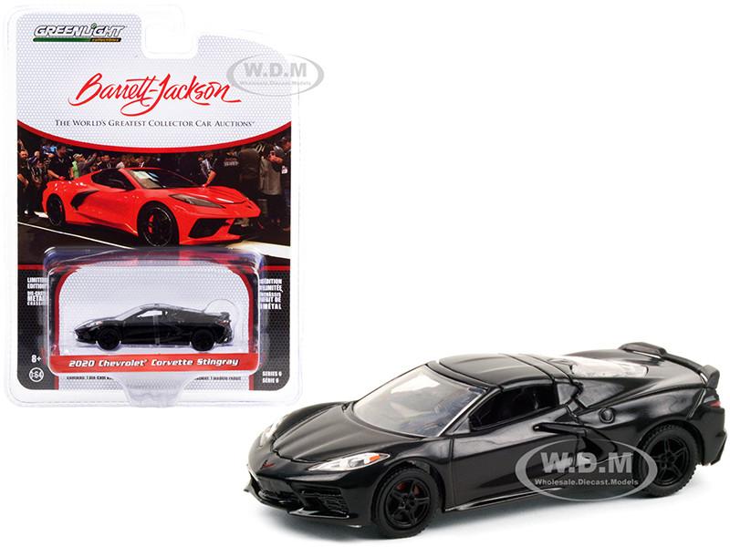 2020 Chevrolet Corvette C8 Stingray Black VIN #001 Lot #3007 Barrett Jackson Scottsdale Edition Series 6 1/64 Diecast Model Car Greenlight 37220 F