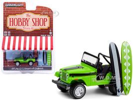 1971 Jeep CJ-5 Renegade Big Bad Green Black Stripes Two Surfboards The Hobby Shop Series 10 1/64 Diecast Model Car Greenlight 97100 B