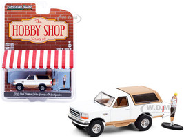 1996 Ford Bronco Eddie Bauer Oxford White Light Saddle Backpacker Figurine The Hobby Shop Series 10 1/64 Diecast Model Car Greenlight 97100 F