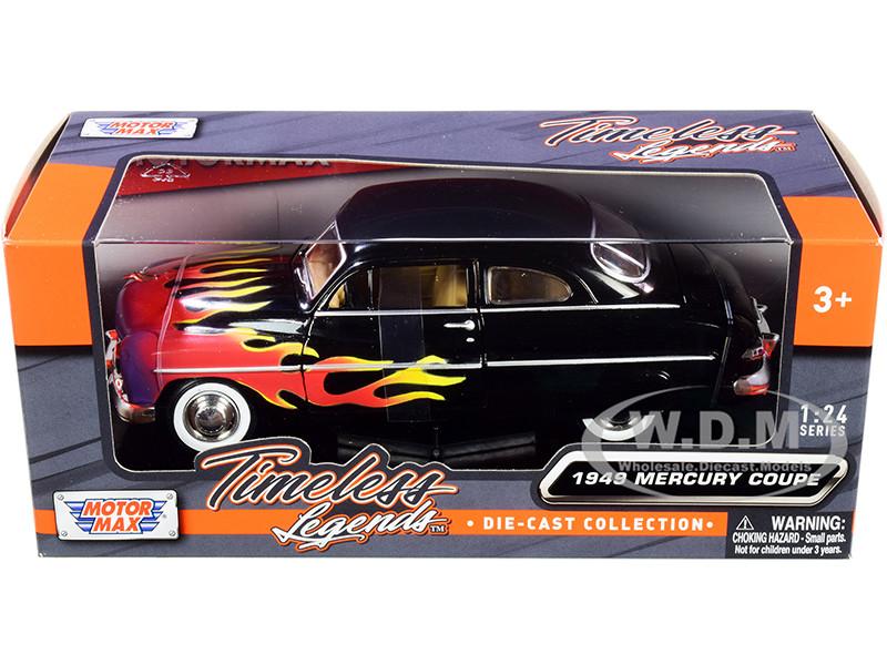 1949 Mercury Coupe Black Flames Timeless Legends Series 1/24 Diecast Model Car Motormax 73225