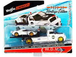 2021 Ford GT #98 Heritage Edition Flatbed Truck White Black Elite Transport Series 1/64 Diecast Model Cars Maisto 15108-21 A