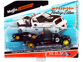 2017 Ford GT #2 Heritage Edition Flatbed Truck Black Elite Transport Series 1/64 Diecast Model Cars Maisto 15108-21 D