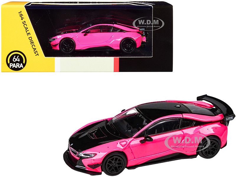 BMW i8 Liberty Walk Hot Pink Black 1/64 Diecast Model Car Paragon PA-55150