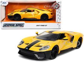 2017 Ford GT Yellow Black Stripe Hyper-Spec Series 1/24 Diecast Model Car Jada 32257