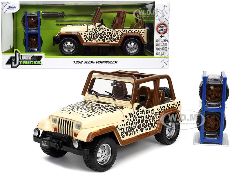 1992 Jeep Wrangler Tan Brown Graphics Extra Wheels Just Trucks Series 1/24 Diecast Model Car Jada 32426