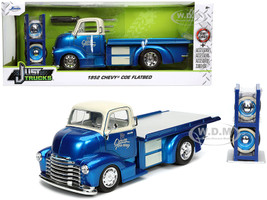 1952 Chevrolet COE Flatbed Tow Truck Crown Towing Candy Blue Cream Extra Wheels Just Trucks Series 1/24 Diecast Model Car Jada 32708