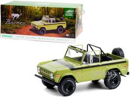 1975 Ford Bronco Sport Medium Green Glow Black Stripes Sunraysia Wheels 1/18 Diecast Model Car Greenlight 19100