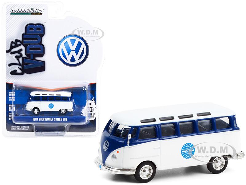 1964 Volkswagen Samba Bus Pan Am Airways Blue White Club Vee V-Dub Series 12 1/64 Diecast Model Greenlight 36020 A