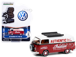 1972 Volkswagen Type 2 Panel Van Indian Motorcycle Authentic Parts & Lubricants Burgundy White Club Vee V-Dub Series 12 1/64 Diecast Model Greenlight 36020 B