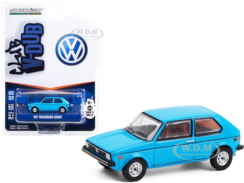 1977 Volkswagen Rabbit Miami Blue Club Vee V-Dub Series 12 1/64 Diecast Model Car Greenlight 36020 E