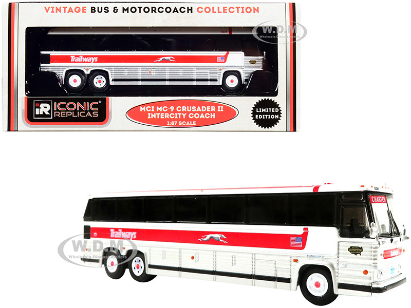 1980 MCI MC-9 Crusader II Intercity Coach Bus Trailways White Silver Red Stripe Vintage Bus & Motorcoach Collection 1/87 HO Diecast Model Iconic Replicas 87-0229