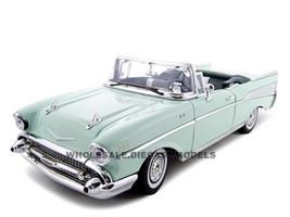 1957 Chevrolet Bel Air Convertible Green 1/18 Diecast Model Car Motormax 73175
