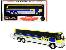 1980 MCI MC-9 Crusader II Intercity Coach Bus Via Rail Canada Yellow Silver Blue Stripes Vintage Bus & Motorcoach Collection 1/87 HO Diecast Model Iconic Replicas 87-0230