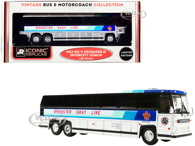 1980 MCI MC-9 Crusader II Intercity Coach Bus Brewster Gray Line Canada White Silver Stripes Vintage Bus & Motorcoach Collection 1/87 HO Diecast Model Iconic Replicas 87-0234