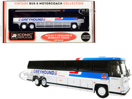 1980 MCI MC-9 Crusader II Intercity Coach Bus Greyhound Canada White Silver Stripes Vintage Bus & Motorcoach Collection 1/87 HO Diecast Model Iconic Replicas 87-0246