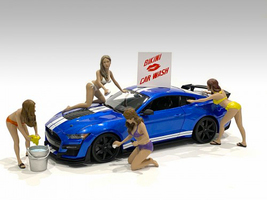 Bikini Car Wash Girls 4 piece Figurine Set 1/18 Scale Models American Diorama 76263 76264 76265 76266