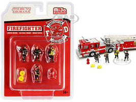 Firefighter 7 piece Diecast Set 4 Figurines 3 Accessories 1/64 Scale Models American Diorama 76468