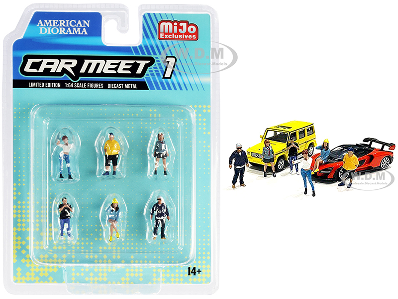 Car Meet 1 6 piece Diecast Figurine Set 1/64 Scale Models American Diorama 76469
