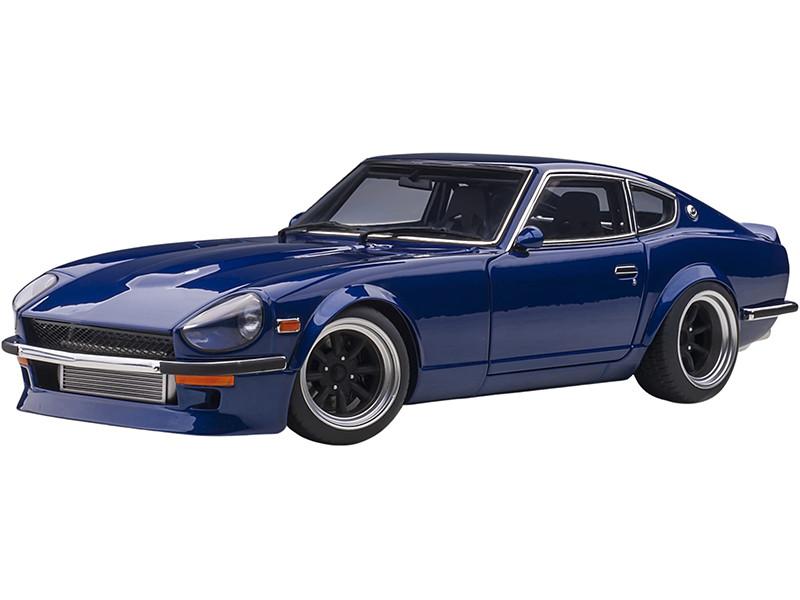 Nissan Fairlady Z S30 RHD Right Hand Drive Blue Metallic Wangan Midnight Akuma no Z 30th Midnight Anniversary 1/18 Diecast Model Car Autoart 77452