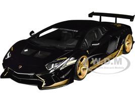 Lamborghini Aventador Liberty Walk LB-Works Gloss Black Gold Accents Limited Edition 1/18 Model Car Autoart 79184