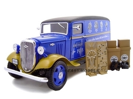 1935 Chevrolet Canopy Truck Blue Truck With Accessories 1/24 Diecast Model Unique Replicas 18621