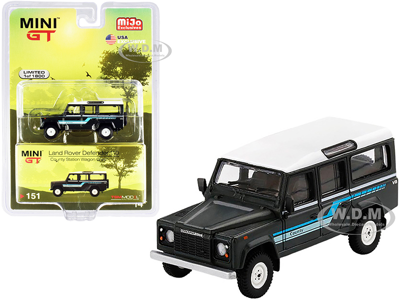 1985 Land Rover Defender 110 County Station Wagon Dark Gray White Top Limited Edition 1800 pieces Worldwide 1/64 Diecast Model Car True Scale Miniatures MGT00151