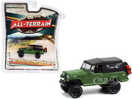 1968 Jeep Jeepster Commando Off-Road Parts Dark Green Black Soft Top All Terrain Series 11 1/64 Diecast Model Car Greenlight 35190 A
