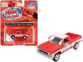 1973 Chevrolet Cheyenne Pickup Truck Madder Red White 1/87 HO Scale Model Car Classic Metal Works 30605