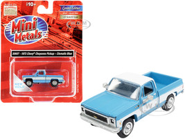 1973 Chevrolet Cheyenne Pickup Truck Clematis Blue White 1/87 HO Scale Model Car Classic Metal Works 30607