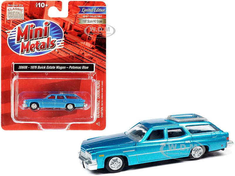 1976 Buick Estate Wagon Potomac Blue Metallic 1/87 HO Scale Model Car Classic Metal Works 30608