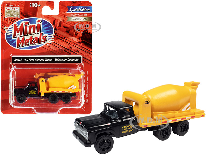 1960 Ford Cement Mixer Truck Tidewater Concrete Black Yellow 1/87 HO Scale Model Classic Metal Works 30614