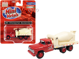 1960 Ford Cement Mixer Truck Morse Sand Gravel Red Cream 1/87 HO Scale Model Classic Metal Works 30615